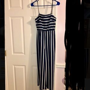 Navy, white-striped jumpsuit